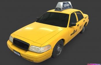 1992款福特维多利亚皇冠出租车计程车的士车版汽车C4D模型 ford Crown V