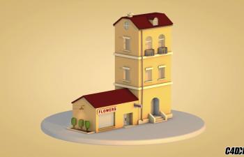 C4D教程 低面模LOWPLOY风格 小房子建筑建模渲染教程