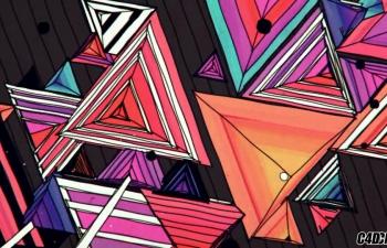 C4D精品工程 No.135 二维卡通多边形生长破碎 triangle field