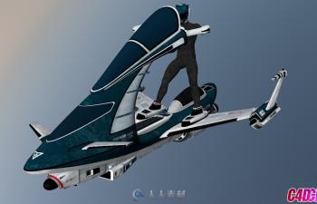C4D模型 科幻飞行摩托
