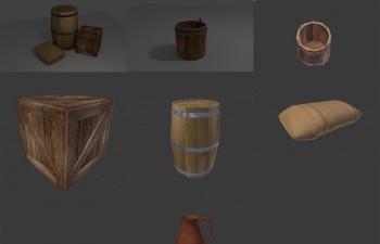 游戏模型包TurboSquid - Medieval Container Set RPG Container Pack 3D Models