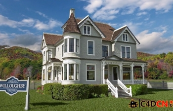 C4D维多利亚酒店投影合成教程Cineversity - Victorian House Set Extension with P...