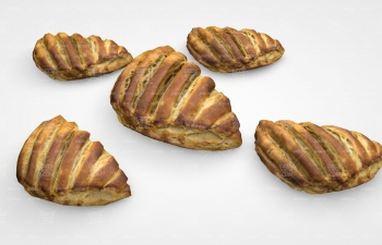 C4D模型 高低牛油面包早餐模型 Shea butter breakfast C4D model