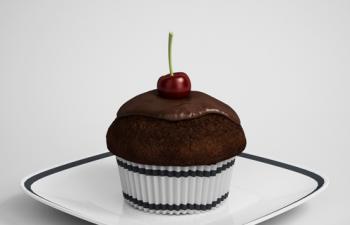 巧克力樱桃蛋糕方形盘子模型-免费