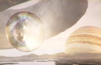Octane渲染器木星卫星上的巨大飞船和玻璃球C4D工程