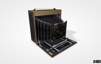 C4D模型 复古 老式破旧箱式照相机 摄像机