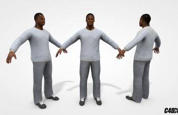C4D人物模型 黑人男子 含绑定
