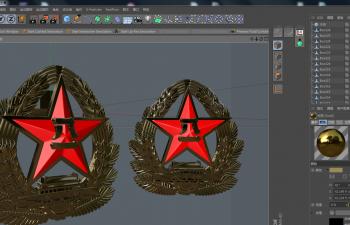 C4D模型 八一军徽帽徽 徽章