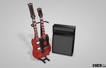 C4D音乐用品双颈吉他音响模型