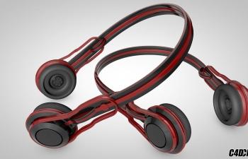 C4D红色耳麦 耳机模型