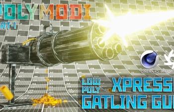 加特林机枪建模xpresso表达式节点制作子弹射击穿过钢板弹孔动画C4D教程