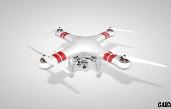C4D模型 大疆精灵3 无人机模型 飞机