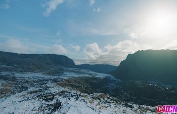 Corona渲染器灯光雾天空雪山环境渲染C4D教程