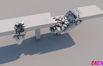 C4D教程 自帶破碎工具制作橋面路面坍塌塌陷動畫教程