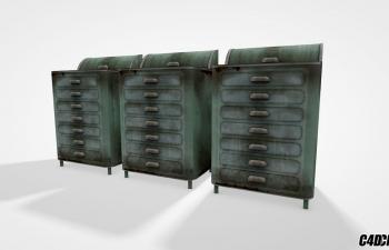 C4D储物柜 医疗柜 模型