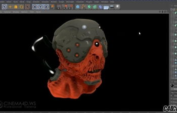 C4D外星人半机械生物头盔头部建模雕刻教程