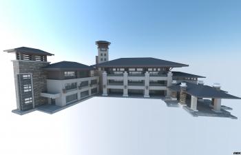 两个中式办公区域/办公楼模型