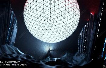 C4D模型 Octane渲染器科幻场景 月球