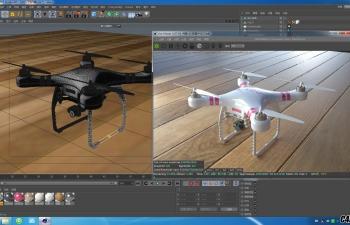 C4D大疆飞行器无人机渲染