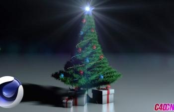 圣诞节日圣诞树礼物盒礼品盒建模渲染C4D教程