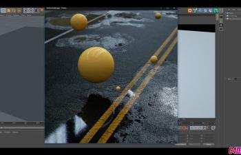 Octane渲染器瀝青公路地面水洼水漬反射寫實材質渲染C4D教程