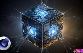 C4D+AE教程 科幻发光机械盒子栏目包装特效redshift渲染器教程