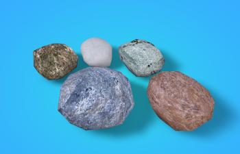 五块写实石头模型Low-poly Rock Set (5 different rocks) 3d model