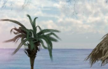 沙滩海滩棕榈树沙滩椅C4D模型 Beach beach palm tree beach chair C4D model