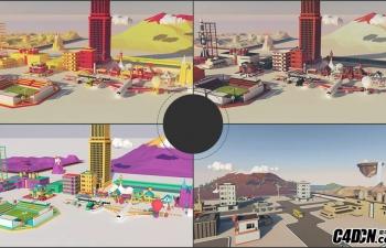 [模型预设] 83套C4D低多边形汽车/楼房/飞机/建筑/城市生活场景预设