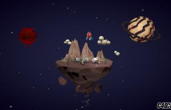 低面体的星球,火箭,漂浮大陆组成的动画