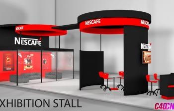 雀巢公司展览厅展台展厅设计C4D教程