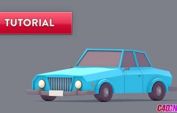 C4D教程 Low Poly低面模风格卡通小汽车建模渲染教程