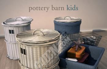 几个C4D精美竹篓篮子模型下载 Pottery barn_kids basket