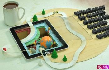 C4D模型,灰猩猩创意平板