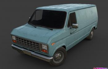 美国老式蓝色厢式货车面包车运输车汽车C4D模型
