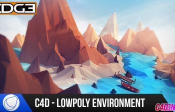 C4D教程 Low Poly低面模風格海島環境場景建模材質渲染教程