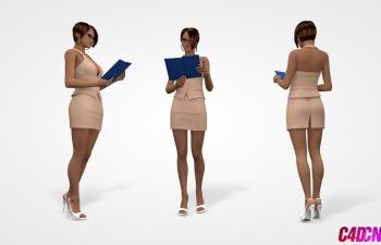 C4D模型 办公室职业女性 文件夹 短裙 眼镜 耳环模型