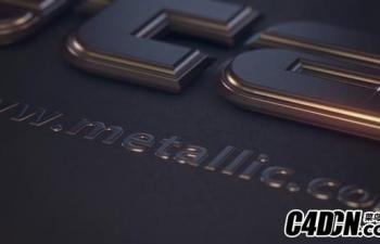 C4D+AE模板-暗黑金属字幕标题logo标志展示C4D工程
