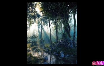 C4D教程 Octane渲染器阳光照射树林小溪自然环境写实风格渲染教程