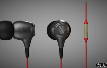[C4D产品渲染]-耳机建模渲染