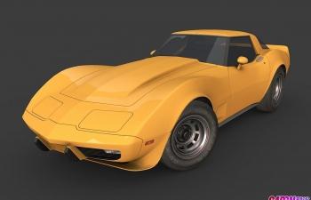 1978年款雪佛兰科尔维特超跑轿跑汽车C4D模型 chevrolet Corvette 1967c