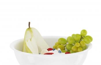 C4D模型 鸭梨切片葡萄提子草莓水果盘食物模型