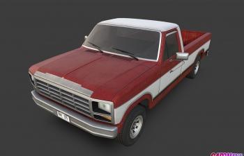 1980款美国福特皮卡车汽车C4D模型 ford f150 1980
