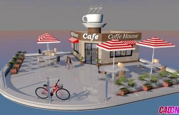 C4D教程 精品咖啡馆场景建模渲染教程