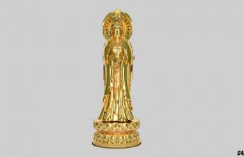 C4D模型 黄金材质 渡金观音模型渲染模型