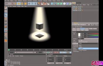 C4D聚光灯照射物体灯光物照明环境教程