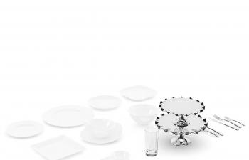 C4D模型 盘子水杯银质刀叉餐具模型