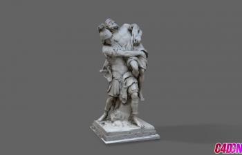 C4D模型 古罗马士兵和受伤的男人雕塑模型