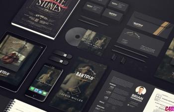 黑色视觉形象设备设计元素AE模板