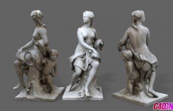 C4D模型 女人和小孩人物雕塑模型